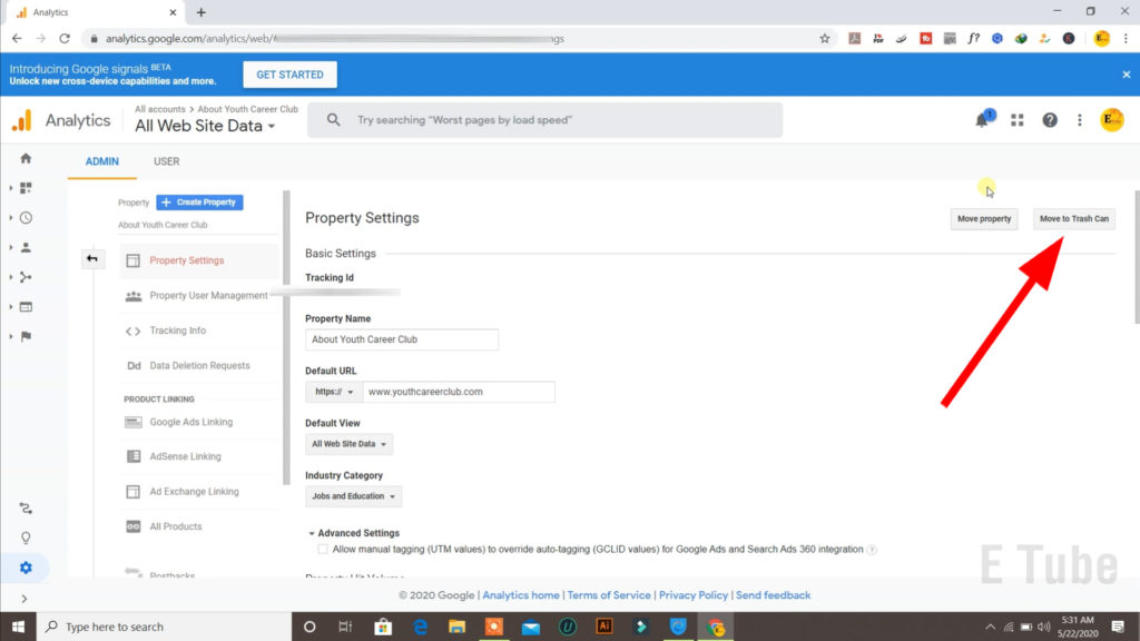 remove a property from google analytics