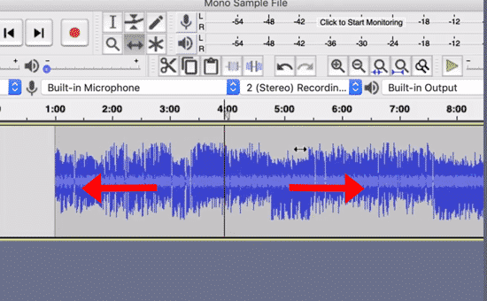 move audio in audacity to later