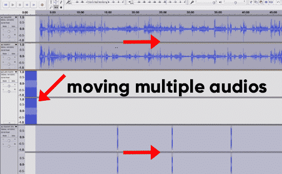move multiple audios in audacity
